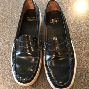 Bass leather loafers, never worn, size 9.